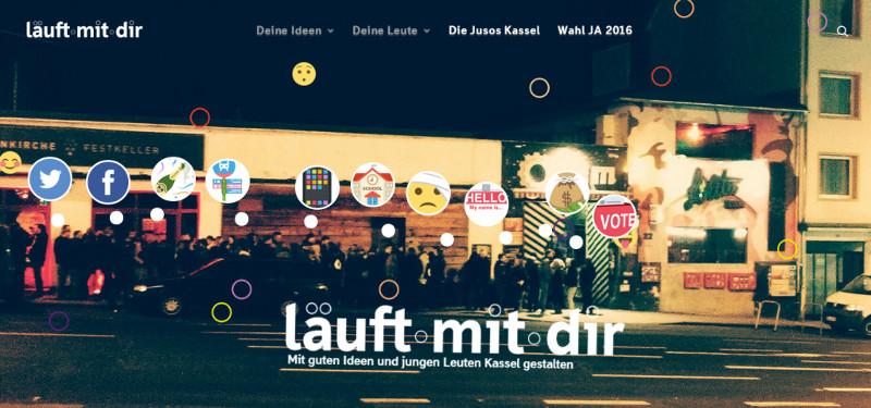 Junge Menschen stehen vor der Lolitabar in Kasssel. Logo: Läuft mit dir - Mit guten Ideen und jungen Leuten Kassel gestalten